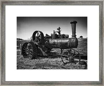Steam Tractor Noir Framed Print