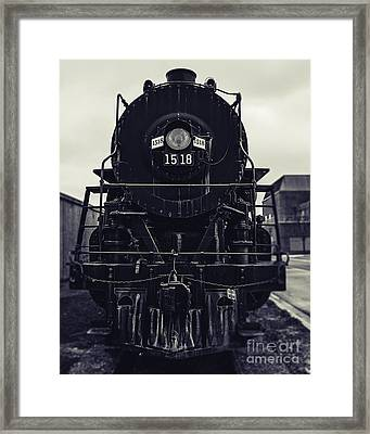 Steam Train 1518 In Black And White Framed Print by Emily Kay