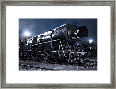 Steam Train In The Night II. Framed Print by Martin Dzurjanik