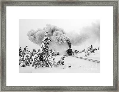 Steam Train On Brocken Mountain Framed Print