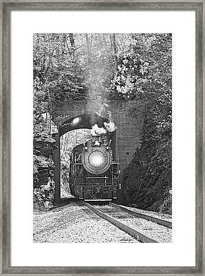 Steam Train Tunnel Framed Print