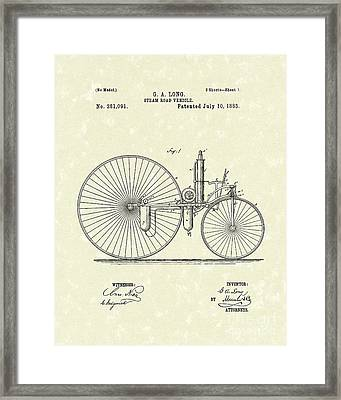 Steam Vehicle 1883 Patent Art Framed Print by Prior Art Design