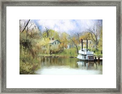 Framed Print featuring the painting Steamboat Landing In The South by Ike Krieger