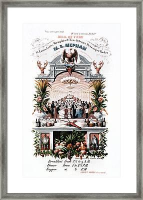 Steamboat Menu, C1865 Framed Print