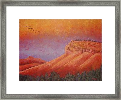 Framed Print featuring the painting Steamboat Mountain At Sunrise by Margaret Bobb