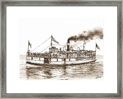 Steamboat Reliance Sepia Framed Print by James Williamson