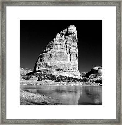 Steamboat Rock Black And White Three Framed Print by Joshua House