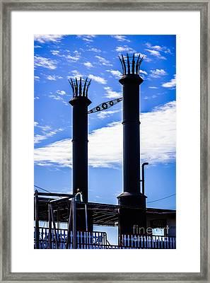 Steamboat Smokestacks On The Natchez Steam Boat Framed Print by Paul Velgos