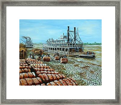Steamboat Unloading Cotton In Memphis Framed Print by Karl Wagner