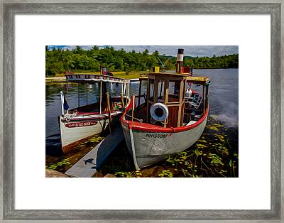 Steamboats On The Lake Framed Print