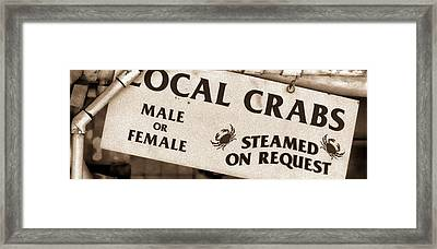 Steamed Crabs - Mike Hope Framed Print