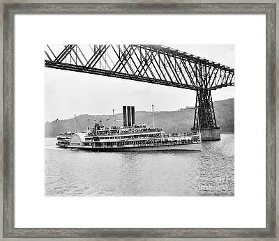 Steamer Albany Under Poughkeepsie Trestle Black And White Framed Print
