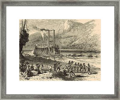 Steamer On The Tennessee Warped Through The Suck - 1872 Engraving Framed Print by Antique Engravings
