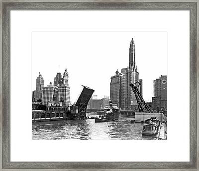 Steamer Towed On Chicago River Framed Print by Underwood Archives