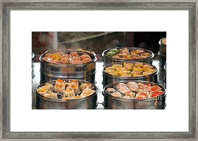 Steamers With Dim Sum Dishes Framed Print by Yali Shi
