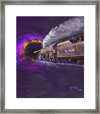Steaming Into The Black Hole Of History Framed Print