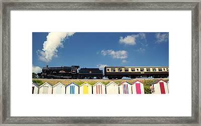 Steaming Past The Beach Framed Print by Peter Hunt