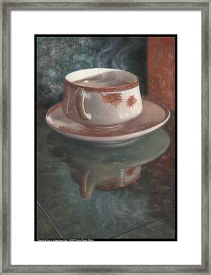 Steaming Tea In A Japanese Cup Framed Print