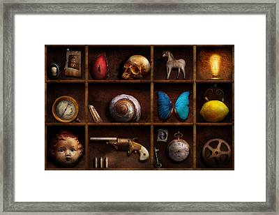 Steampunk - A Box Of Curiosities Framed Print by Mike Savad