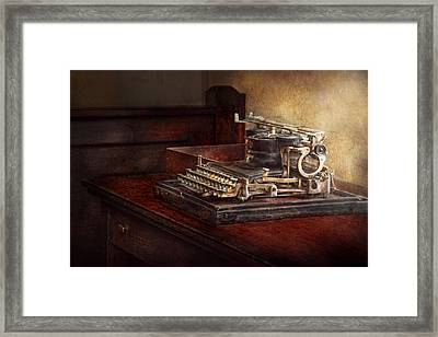 Steampunk - A Crusty Old Typewriter Framed Print by Mike Savad