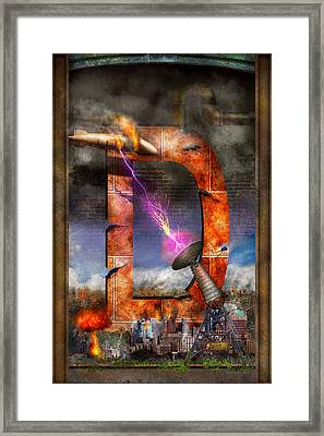 Steampunk - Alphabet - D Is For Death Ray Framed Print by Mike Savad