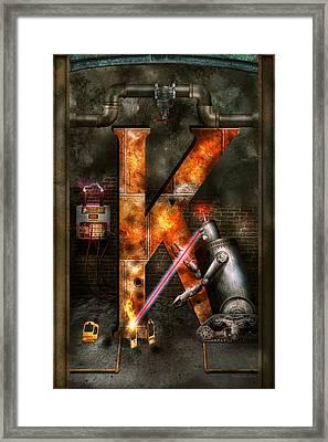 Steampunk - Alphabet - K Is For Killer Robots Framed Print by Mike Savad