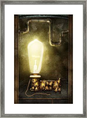 Steampunk - Alphabet - L Is For Light Bulb Framed Print