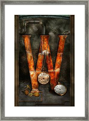 Steampunk - Alphabet - W Is For Watches Framed Print by Mike Savad