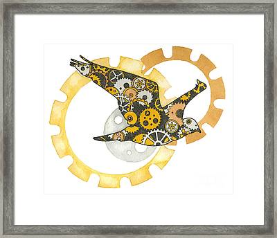 Steampunk Bird Framed Print by Nora Blansett