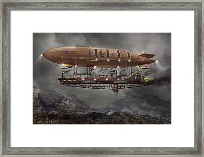 Steampunk - Blimp - Airship Maximus  Framed Print by Mike Savad