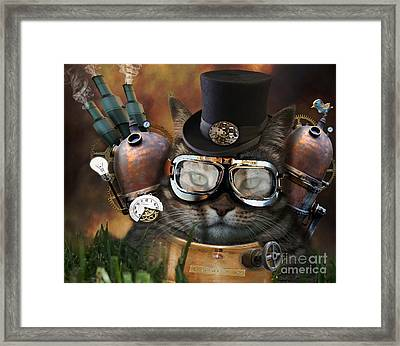 Steampunk Cat Framed Print by Juli Scalzi