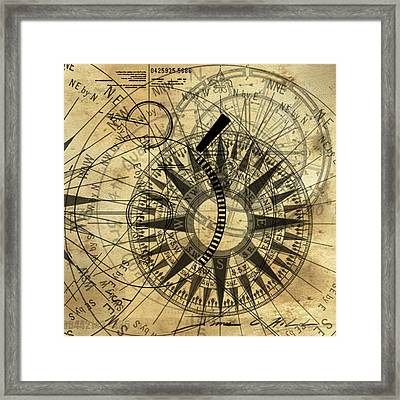 Steampunk Gold Compass Framed Print by James Christopher Hill