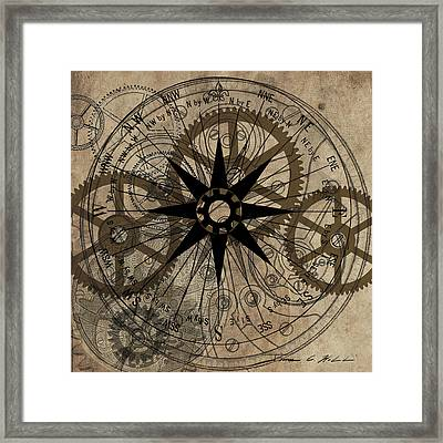 Framed Print featuring the painting Steampunk Gold Gears II  by James Christopher Hill