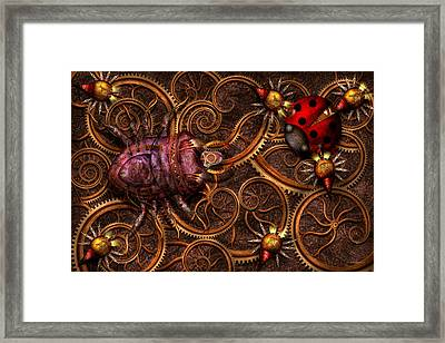 Steampunk - Insect - Itsy Bitsy Spiders Framed Print by Mike Savad