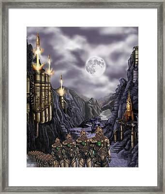 Steampunk Moon Invasion Framed Print by James Christopher Hill