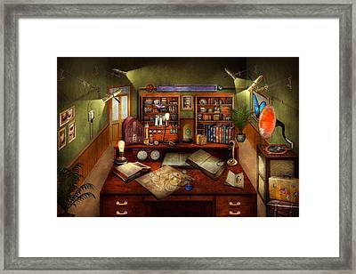 Steampunk - My Busy Study Framed Print by Mike Savad