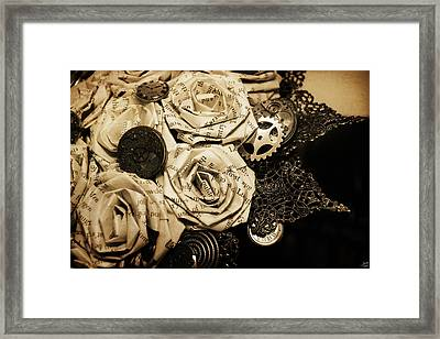 Steampunk Paper Roses Will Never Fade Framed Print by Lisa Knechtel