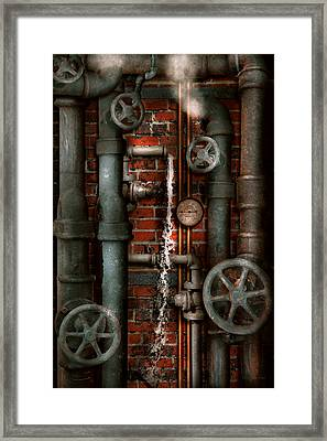 Steampunk - Plumbing - Pipes And Valves Framed Print by Mike Savad