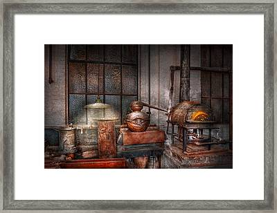Steampunk - Private Distillery  Framed Print by Mike Savad