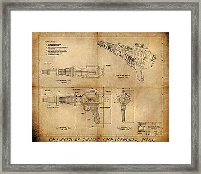 Framed Print featuring the painting Steampunk Raygun by James Christopher Hill