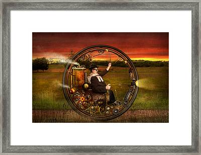 Steampunk - The Gentleman's Monowheel Framed Print by Mike Savad