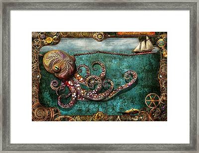 Steampunk - The Tale Of The Kraken Framed Print