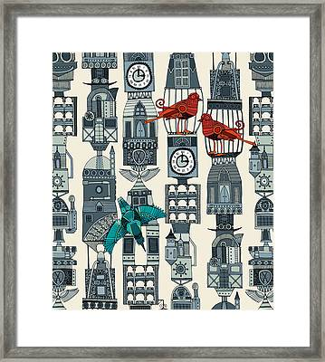 Steampunk Towers Framed Print by Sharon Turner