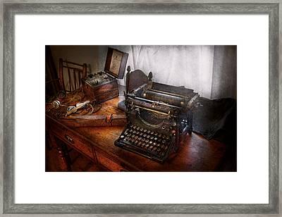 Steampunk - Typewriter - The Secret Messenger  Framed Print by Mike Savad