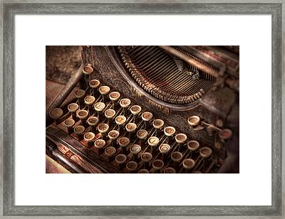 Steampunk - Typewriter - Too Tuckered To Type Framed Print by Mike Savad