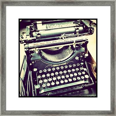 #steampunk #typewriter #writeshit Framed Print by Devin Muylle