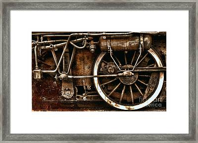 Steampunk- Wheels Of Vintage Steam Train Framed Print