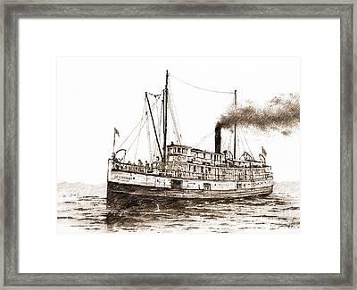 Steamship Bellingham Sepia Framed Print by James Williamson