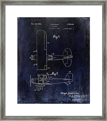 1929 Stearman Patent Drawing Blue Framed Print by Jon Neidert