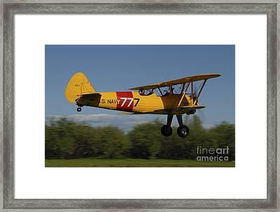 Stearman N2s Biplane In U.s. Navy Framed Print